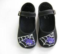 Girls Halloween Shoes Hand Painted Spiders by boygirlboygirldesign, $28.00