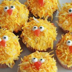 "Chick Cupcakes -- Frost the cupcakes with yellow frosting.  Next, ""dip"" them in coconut dyed with yellow food coloring.  With a little dab of frosting, add Wilton Candy Eyeballs.  The beak is a jelly bean cut into a triangle.  You could also use a gumdrop."