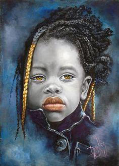Dora Alis Mera, oil on linen, 2011 {contemporary figurative art beautiful female braids african girl. Pintura Graffiti, Portraits Pastel, Art Afro, Arte Black, Figurative Kunst, Natural Hair Art, African Children, Art Africain, Black Artwork