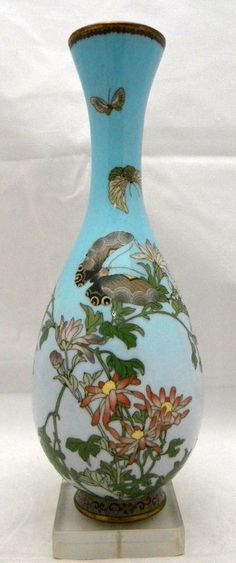Japanese wire & wireless cloisonne vase, with butterflies.