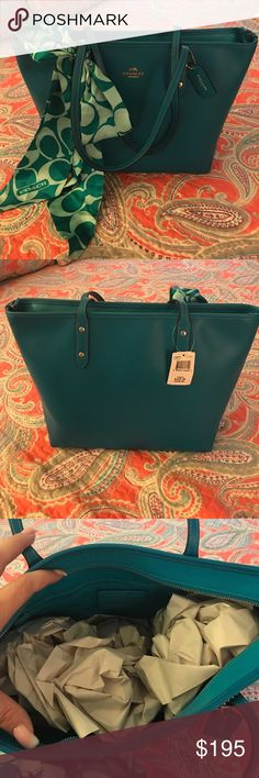 BNWT COACH satchel. This bag is gorgeous! Turquoise and all leather. I bought it and never carried it. The silk COACH scarf is included in the price! This bag did not come with a dust bag, so please note that is not included. Coach Bags Satchels