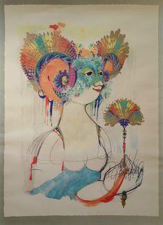 1965 Goddess of Iris by Bjørn Wiinblad - Original Vintage Poster