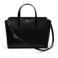 Black Women's Chantaco Gusseted Piqué Leather Tote Bag (380 CAD) ❤ liked on Polyvore featuring bags, handbags, tote bags, tote handbags, tote bag purse, leather tote handbags, leather handbag tote and real leather purses