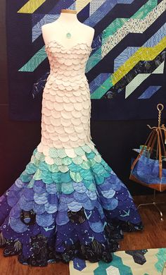 Mermaid dress by Alyssa Holub.  Into The Deep fabric by Patty Sloniger at beckandlundy: Fall Quilt Market 2015.