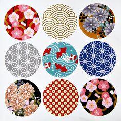 9 Round Japanese Kimono Design Paper Sticker Labels. 4cm Diameter. Sakura. Floral. Goldfish. Gift Wrapping. Washi Paper Design