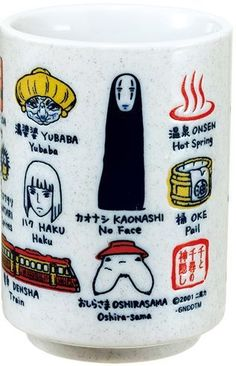 """Characters, buildings and props from """"Spirited Away"""" are lined up on the Japanese style tea cup. Carefully crafted by the skilled artisan,the names are written in..."""