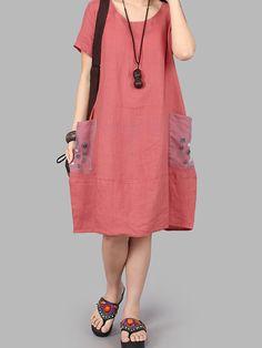 Casual Women Short Sleeve Pockets Loose Vestires - Banggood Móvel