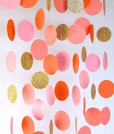 Garland, Paper Garland in Blush Pink, Orange, Coral and Gold, Bridal Shower, Baby Shower, Party Deco
