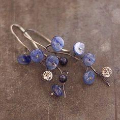 Etsy listing at https://www.etsy.com/listing/185524374/little-blue-flowers-earrings-sterling