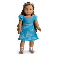 American Girl Kanani's Blue Velveteen PARTY OUTFIT Dress + Sandals for Doll