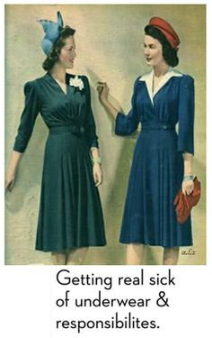 Vintage Fashion Fall fashion trends of the : A V neckline helps shape a more streamlined figure. Accessorize with a small, fitted hat for a pop of color. Moda Vintage, Vintage Mode, Fashion Moda, Retro Fashion, Vintage Fashion, Womens Fashion, 1940s Fashion Women, Fashion Site, Club Fashion