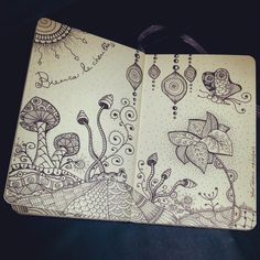 Zentangle village, mushrooms, flower, butterfly