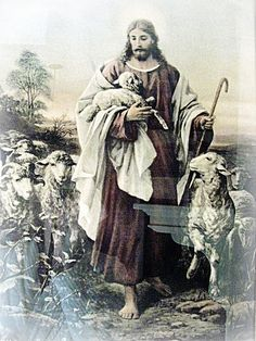 I Am the Good Shepherd... I care for my sheep...My mom has this pic in a huge frame at her house. Ive always loved it
