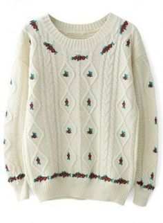 Ivory Cable Knit Sweater with Floral Embroider Detail