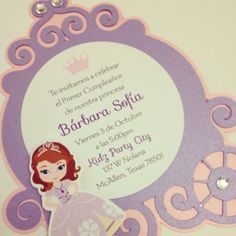 Sofia the first Carriage Invitation Princess by BirthdayPartyBox, $3.75