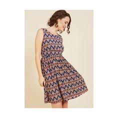 Mid-length Sleeveless A-line Colleague Karaoke A-Line Dress (655 SEK) ❤ liked on Polyvore featuring dresses, apparel, blue, fashion dress, chevron pattern dress, a line silhouette dress, blue chevron print dress, pink blue dress and blue chevron dress