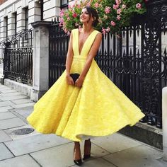 A-Line Deep V-Neck Sleeveless Ankle-Length Yellow Satin Prom Dress with Appliques