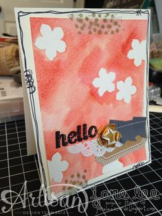 Doodles, Masks, & Watercolors (Tute) - OH, MY! - AWW March | Jane Lee http://janeleescards.blogspot.com