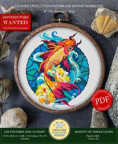 This is modern cross-stitch pattern of Mandala Fish for instant download. You will get 7-pages PDF file, which includes: - main picture for your reference; - colorful scheme for cross-stitch; - list of DMC thread colors (instruction and key section); - list of calculated thread