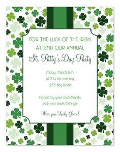 Free Clover Pattern Invitations | Patrick o'brian, Love this and Love