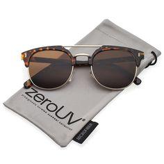 4e5aeade17a Classic Horn Rimmed Crossbar Round Flat Lens Half Frame Sunglasses 50mm -  Tortoise-gold