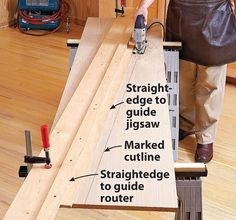 Try this strategy for making clean, consistent, and repeatable angled cuts. Woodworking Jigsaw, Woodworking Workbench, Easy Woodworking Projects, Wood Turning Lathe, Wood Turning Projects, Wood Projects, Best Jigsaw, Using A Router, Wood Magazine
