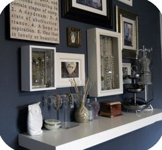 Here are Ten Creative Ways to Display your Jewels although I like the wall display with white and blue.