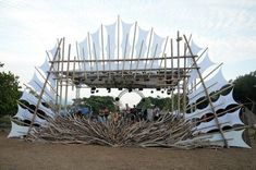 Boom Festival designers create really cool eco-friendly bioconstruction designs. This gallery shows what it looks like during the day & at night.