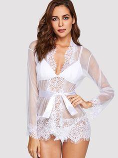 7935e9aa3b9c77 Eyelash Lace Trim Robe With Thong Women s Fashion Dresses