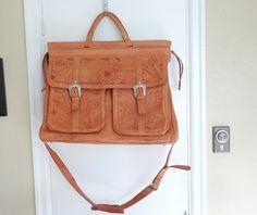 Vintage Saddle Tan Extra Large  HAND TOOLED Leather Overnight Luggage Bag Southwestern Force Ten  Shoulder Crossbody Messenger Satchel by TwoRosesVintage on Etsy