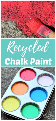 Making recycled chalk paint for outdoor art is a great way to recycle old broken and water soaked pieces of sidewalk chalk. Painting with chalk paint is a super fun summer activity for kids! The vibrant colors look beautiful painted on sidewalks and driveways. It is the perfect medium for outdoor process art that can easily be washed away.