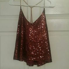 Super cute sparkly tank NWOT deep red/brown sequin tank with gold chain straps Rue 21 Tops Tank Tops