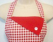 Retro Womens Full Apron / Red Gingham with Red Trim #EasyPin
