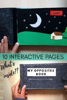 10 pages with flaps to lift and see the opposite. This DIY paper quiet book is a fun way to learn opposites. All the pages can be viewed from the link below. Paper Games For Kids, Diy Toys And Games, Pen And Paper Games, Learning Games For Kids, Paper Crafts For Kids, Learning Toys, Diy Paper, Felt Crafts, Toddler Books