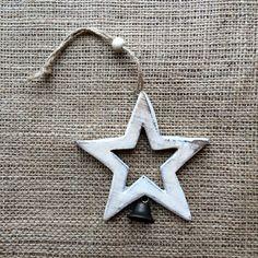 Christmas Decoration - Vintage White Star & Bell Christmas Decorations, Christmas Ornaments, Holiday Decor, Moonlight, Shelf, Stars, Handmade, Vintage, Design