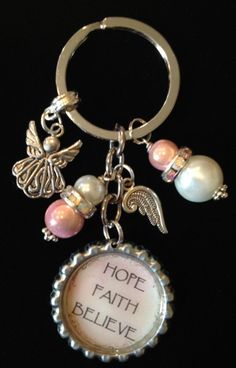 Angels and HOPE FAITH BELIEVE BottleCap keychain by KeyChainBling, $16.00