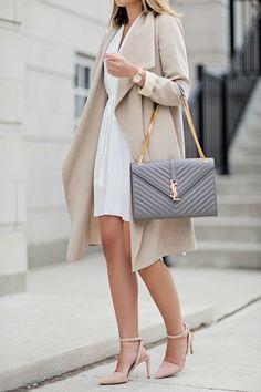 Dress: Aritzia // Coat: Club Monaco (similar) // Bag: Saint Laurent // Shoes: 424 Fifth Sunglasses: Urban Outfitters // Watch:...