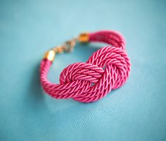 Magenta Pink Nautical Cord Sailor Knot Bracelet by by pardes. $21.00, via Etsy.