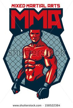 MMA fighter stand - stock vector
