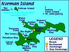 Map of Norman Island- Our favorite Islad to snorkel!