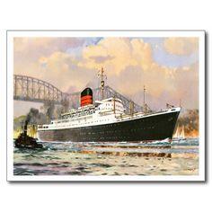 Passenger Steamship - Vintage Ocean Liner Postcards #postcards #ship #gifts