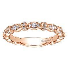 14k Rose Gold Stackable Diamond Ladies' Ring