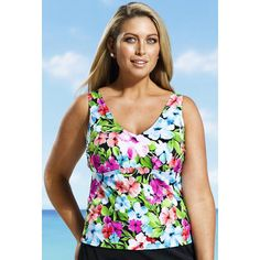 Beach Belle® Beach Belle Floral Patch Plus Size V Neck Tankini Top