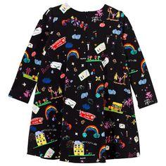 Black Cartoon Print Pleated Dress