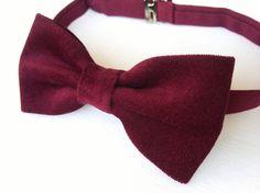 Men's burgundy velvet bow tie  cotton velvet bow by KristineBridal, $39.99