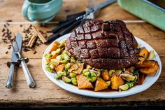 A show-stopping roast gammon from Graham Campbell comes with a sticky spiced glaze to make an extra special dinner. Sweet potato roasties and bacon sprouts finish the dish perfectly Gammon Recipes, Ham Recipes, Roast Gammon, Roasted Ham, Tesco Real Food, Great British Chefs, Scottish Recipes, Sweet Potato, Bacon