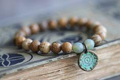 Picture Jasper, Beaded Bracelet, Stacking Bracelet, 8mm,  Copper Charm, Bali Charm, Aqua Patina, Czech Glass, Mint Green, Aqua Blue, Earthy by DezineStudio on Etsy