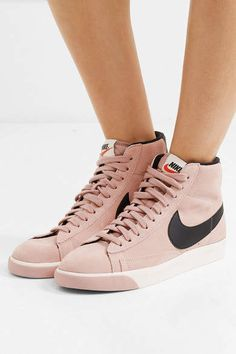 5fa5110e61022c Nike - Vintage Blazer Leather-trimmed Suede High-top Sneakers - Pink   nikeshoes