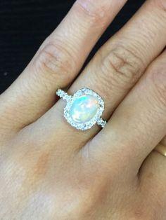 18k White Gold Diamond Halo Oval Fire Opal by LDFineJewelry