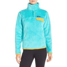 Patagonia 'Re-Tool' Snap Pullover ($119) ❤ liked on Polyvore featuring howling turquoise and patagonia